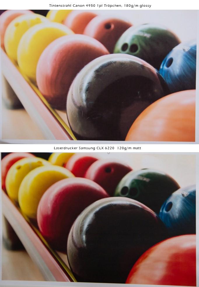 Bei hoher Bildqualität des Ursprungsbildes weiß auch der Laser zu überzeugen. Kein Unterschied der Qualität. Einziger Unterschied bei der Darstellung der rot- und orange-Töne, die man jedoch manuell kalibrieren kann.